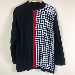 Alfred Dunner Black Red White Knit Sweater